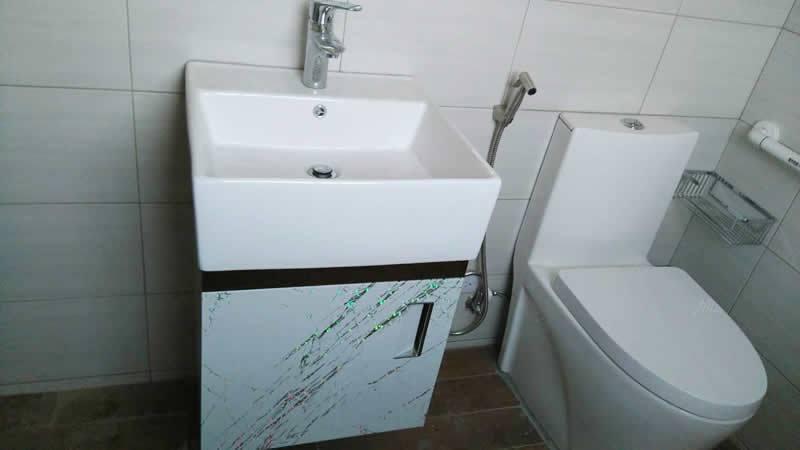 單體馬桶-浴櫃-瓷器龍頭防水木紋地磚